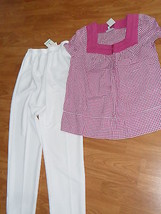 ALFRED DUNNER PANTS SIZE 8 WHITE & FASHION BUG SHIRT SIZE M  NWT - $28.99