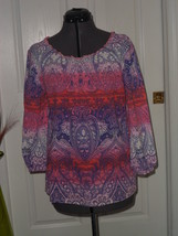 CARIBBEAN JOE PEASANT BLOUSE TOP  SIZE S PURPLE PINK LIGHTWEIGHT NWT - $17.84