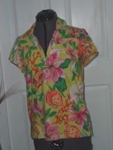 Caribb EAN Joe Knit Top Shirt Size S Green Pink Floral Nwt - $16.99