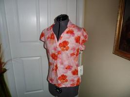 Caribb EAN Joe Knit Top Shirt Size Pm Pink Orange Floral Msrp: $34.00 Nwt - $16.99