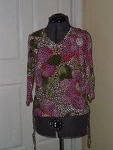 Caribb EAN Joe Knit Top Shirt Size M Stretch MULTI-COLOR Print Msrp: $40.00 Nwt - $16.99