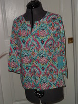Caribb EAN Joe Knit Top Shirt Size Ps Green Pink Pineapples Msrp: $42.00 Nwt - $16.99