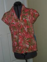 Caribb EAN Joe Knit Top Shirt Size S Peach Green Floral Print MSRP:$34.00 Nwt - $16.99