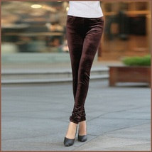 Brown Stretch Velvet High Waist Front Pockets Tight Velour Legging Pants image 1