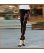 Brown Stretch Velvet High Waist Front Pockets Tight Velour Legging Pants - $49.95