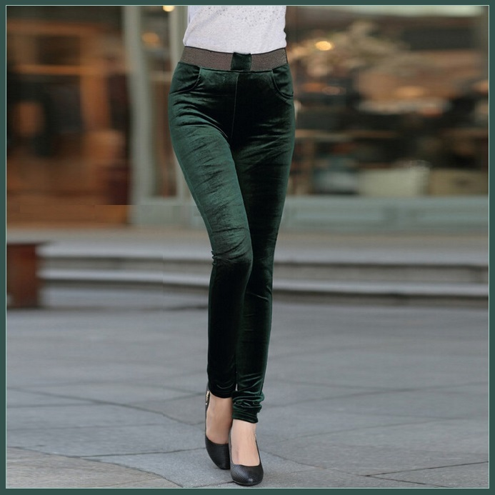 Green Stretch Velvet High Waist Front Pockets Tight Velour Legging Pants