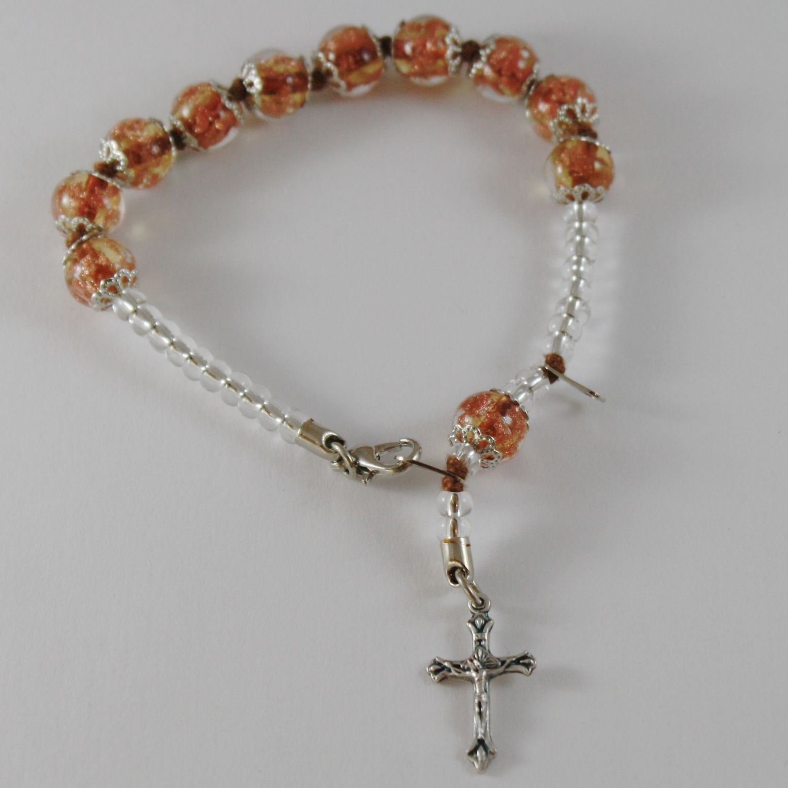 ANTICA MURRINA VENEZIA ROSARY BRACELET WITH JESUS CROSS BEIGE SPHERES BALLS BALL