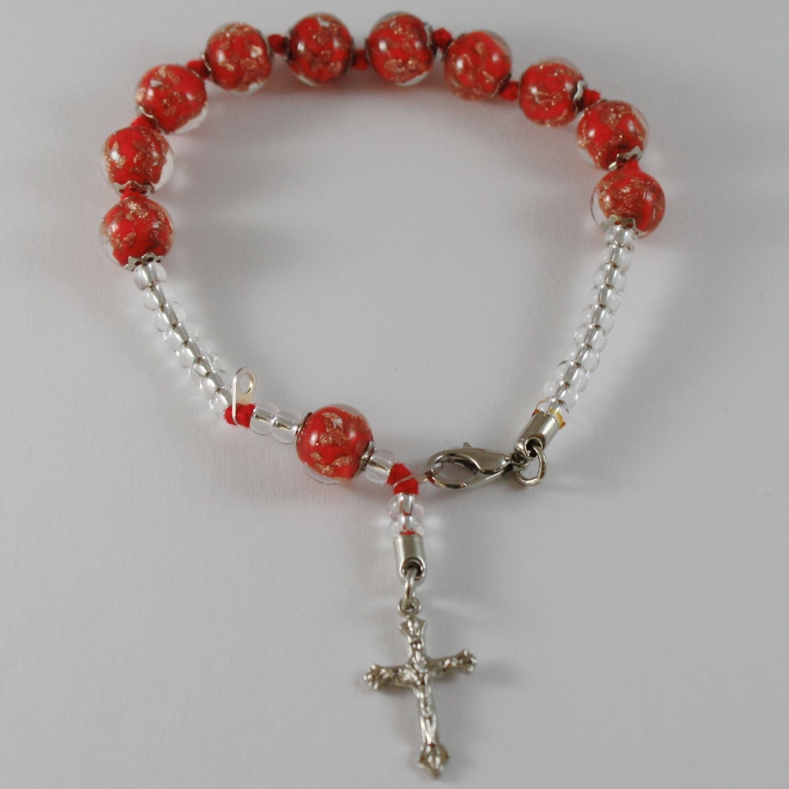 ANTICA MURRINA VENEZIA ROSARY BRACELET WITH JESUS CROSS RED SPHERES BALLS BALL