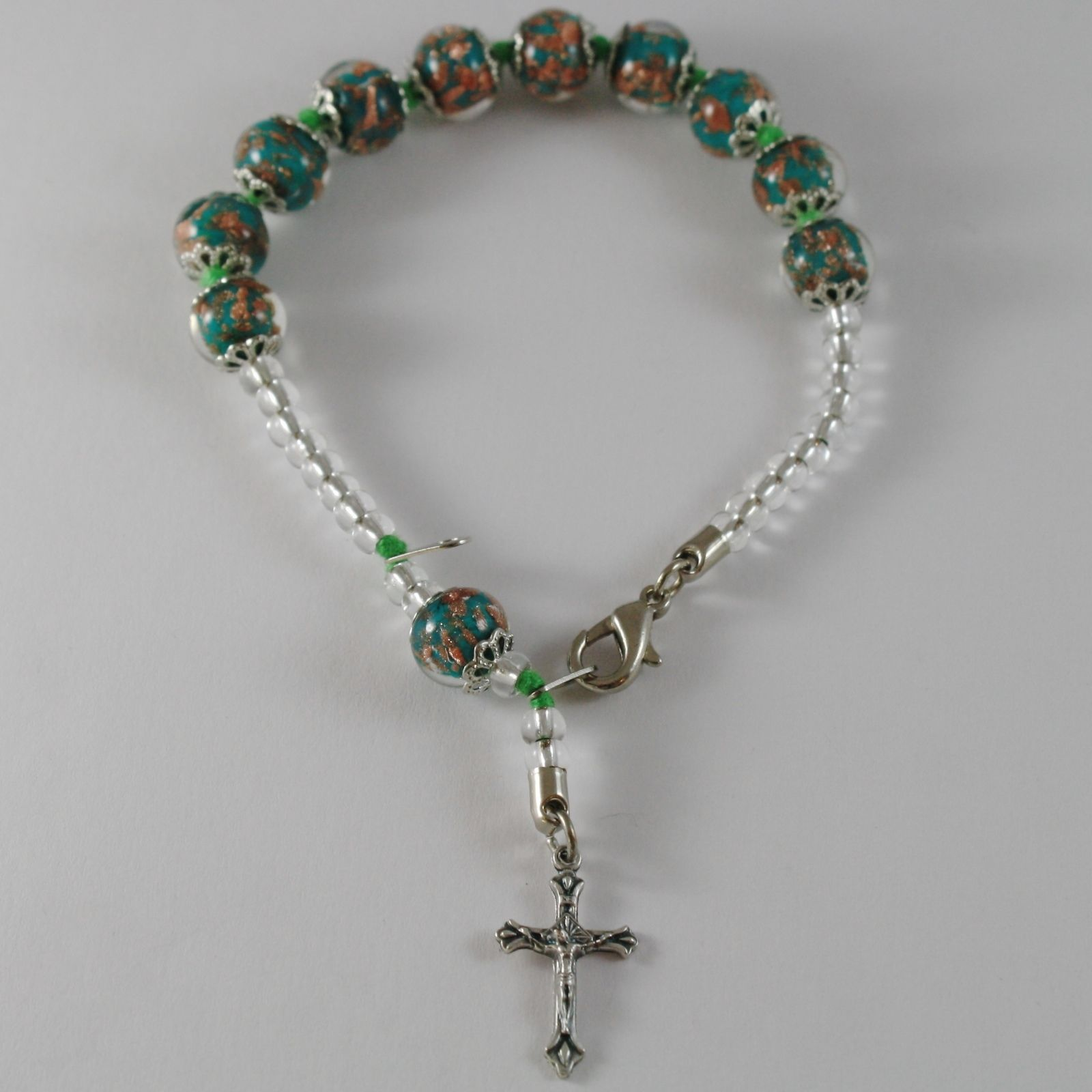 ANTICA MURRINA VENEZIA ROSARY BRACELET WITH JESUS CROSS GREEN SPHERES BALLS BALL
