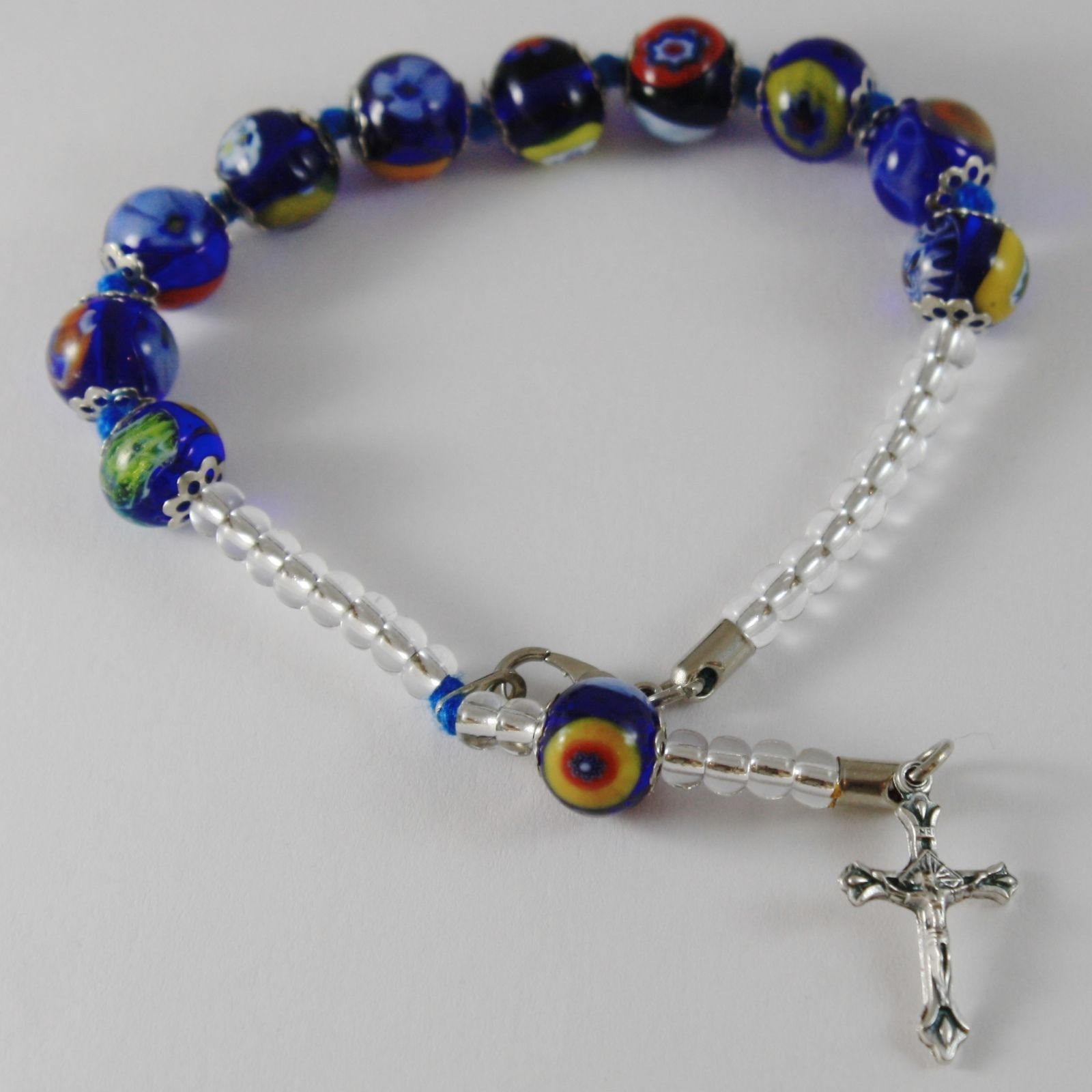 ANTICA MURRINA VENEZIA ROSARY BRACELET JESUS CROSS BLUE MULTI COLOR SPHERES