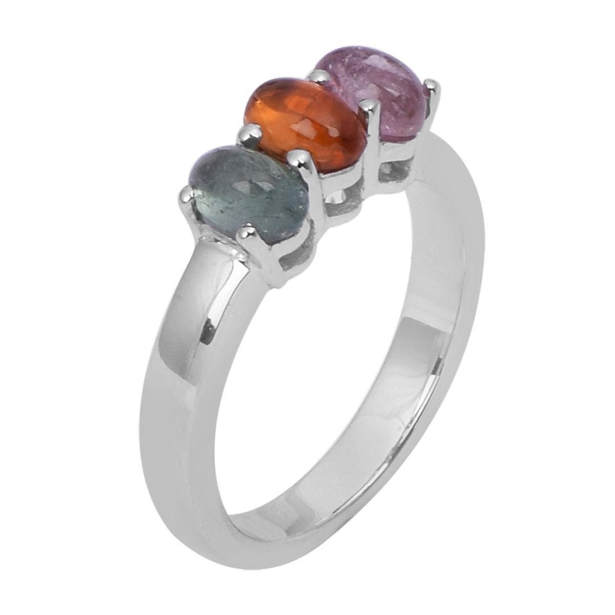 Multi Color Three Tourmaline Jewelry Ring 925 Sterling Silver Ring Sz 7 SHRI0768
