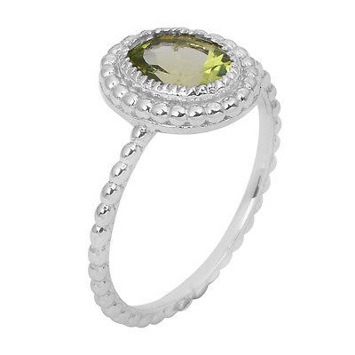 Green Peridot Gemstone Doted 925 Sterling Silver Jewelry Ring band Sz 7 SHRI0769