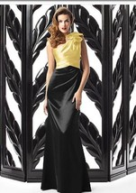 Dessy 2867....Full length, One shoulder, Satin Dress...Buttercup / Black... - €36,46 EUR