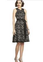 Dessy 2892.....Tea length, Halter, Lace Dress,....Palomino with Black...... - $51.47
