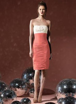 Dessy 8107...Cocktail length, Strapless, Chiffon Dress....Ginger / Ivory... - €17,25 EUR