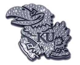 kansas university jayhawks austrian crystals chrome logo auto car emblem - $45.12