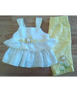 Lovely Girl's Size 3/6 M Month 2 Piece White & Yellow Top & Pant Outfit ... - $16.00