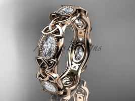 14kt rose gold celtic trinity knot wedding band, engagement ring CT7152B - $2,695.00