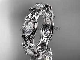 14kt white gold celtic trinity knot wedding band, engagement ring CT7152B - $3,195.00