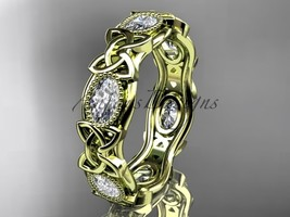 14kt yellow gold celtic trinity knot wedding band, engagement ring CT7152B - $2,695.00