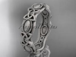 14kt white gold celtic trinity knot , matte finish wedding band, CT7152G - $875.00