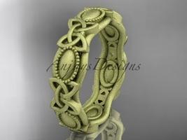 14kt yellow gold celtic trinity knot , matte finish wedding band, CT7152G - $875.00