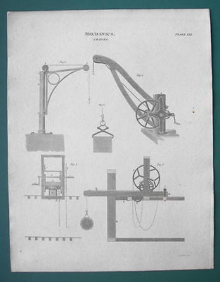 Primary image for CRANES Various Types Bramah's Mechanics - 1820 ABRAHAM REES Print