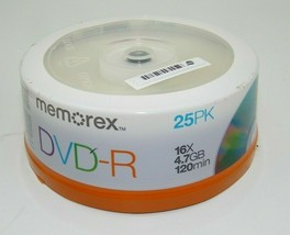 Memorex DVD-R 16x 4.7GB 120 Min 25 Pack Spindle - Brand New Sealed - $10.99