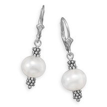 Double Bali Bead and Pearl Lever Back Earrings - $35.98