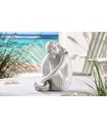 "9"" White Mermaid Sitting Figurine Polystone NEW - $35.17"