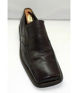 Zengara Dark Brown Leather Square Toe Loafers - Men's Slip On Shoes 8.5M - $47.45