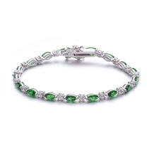 Sterling Silver Emerald Green And Clear Cubic Zirconia Tennis Bracelet - $159.99