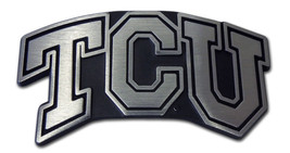 tcu texas christian horned frogs matte logo chrome auto car emblem usa made - $28.49