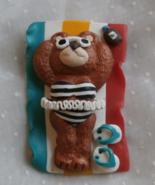 Teddy Bear on Beach Blanket Brooch or Pin, Mark... - $5.99