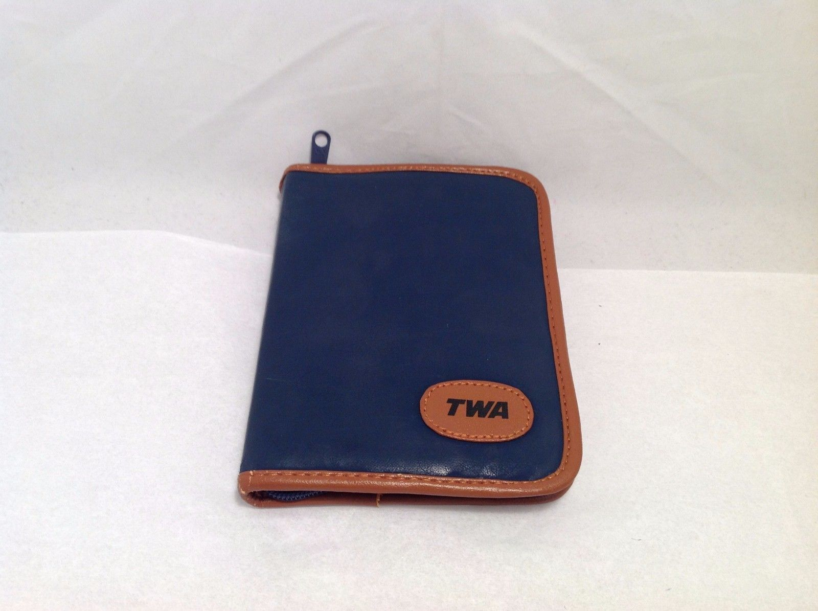 TWA Brand Great Condition Vintage Leather Like Navy Blue Tan Brown Trim 1989