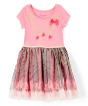 NWT Nannette Girls Pink Gold Glitter Necklace Short Sleeve Tutu Dress 2T - $10.88