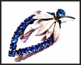 BLUE Rhinestones Leaf Floral Rhinestones Bridal Pin Brooch Authentic Vintage - $24.75