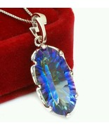 11ct blue rainbow topaz set in 925 sterling silver with 925 chain - $29.99