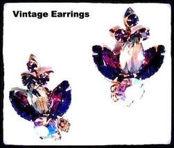 Austria Crystal Purple Violet Pink Sparkles Rhinestones Clip On Earrings... - $39.60