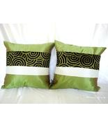 Set of 2 Thai Silk Green Throw Cushion Pillow C... - $9.26