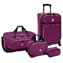 San Vincente Purple Expandable 4pc Spinner Duffel Tote Bag Travel Luggag... - $69.99