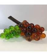 2 Vintage Mid Century Lucite Acrylic Grape Bunches Green & Orange - $24.70
