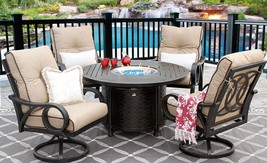 OUTDOOR PATIO 5PC DINING SET 50 INCH ROUND FIRETABLE SERIES 4000 - $5,315.31