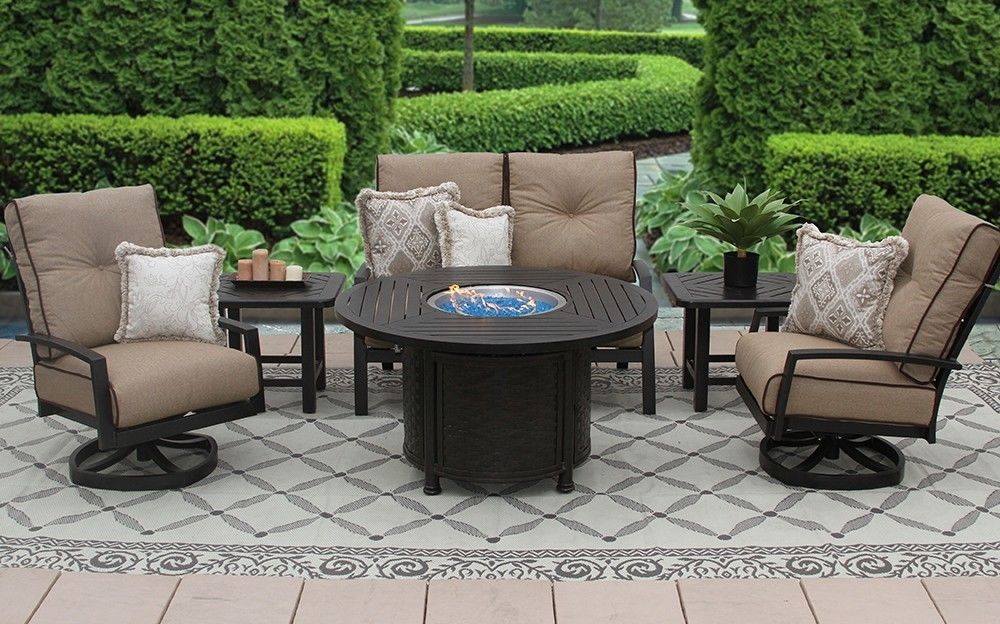 """OUTDOOR PATIO 6PC LOVESEAT, 2-CLUB SWIVEL ROCKERS, 2-END TABLES 50"""" ROUND FIRE"""