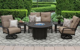 "OUTDOOR PATIO 6PC LOVESEAT, 2-CLUB SWIVEL ROCKERS, 2-END TABLES 50"" ROU... - $5,790.51"
