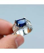 4.50Ct Emerald Cut Blue Sapphire Men's Engagement Ring 14K White Gold Fi... - $169.99
