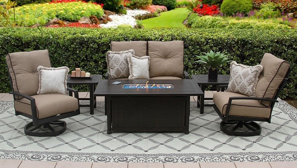 QUINCY ALUMINUM OUTDOOR PATIO 6PC LOVESEAT, 2-CLUB SWIVEL ROCKERS, 2-END TABLES