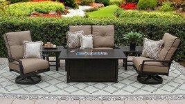 QUINCY ALUMINUM OUTDOOR PATIO 6PC LOVESEAT, 2-CLUB SWIVEL ROCKERS, 2-END... - $5,659.83