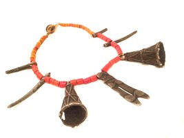 Naga Jewelry Red Coral Trade Glass Tribal Brass Pendant Ethnic Vintage Necklace - $490.00