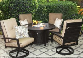 OUTDOOR PATIO 5 PC DINING SET 50 INCH ROUND FIRE TABLE SERIES 4000 - $5,123.25
